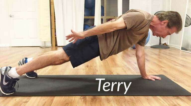 "Terry in ""One-Armed Plank"""